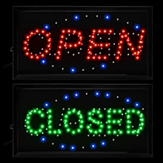 "Boshen 2 in 1 Open Closed LED Signs Flashing LED Business Display Sign with On/Off Switch for Restaurant Cafe Bar Pub Shop Store (19""×10"")"