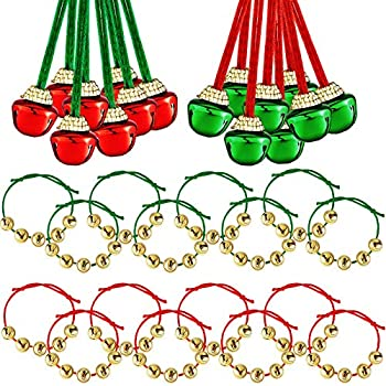 32 Pieces Jingle Bell Necklace Set Includes 16 Pieces Jingle Bells Necklaces and 16 Pieces Adjustable Bell Bracelets for Adult Christmas Holiday Party Home Favor  Red Green Jingle Bell Necklace