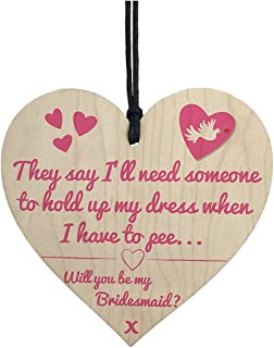 Sign Wood - Will You Be My Bridesmaid Funny Wedding Gift Hanging Plaque Maid Of Honour Sign - Maid Shirt From Dresses Size Gifts SashGift Guide 2019 Wine Black Wedding Plus Robe Dish Si
