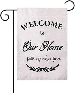 ULOVE LOVE LOVE YOURSELF Welcome to Our Home Garden Flags مزدوج الجوانب مزرعة ديكور خيش صغير ترحيب أعلام الحديقة 12.5 × 18...