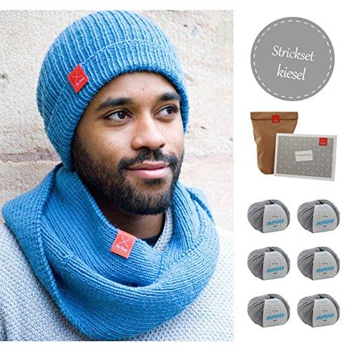 MyOma Beanie Stricken - DIY Strickpackung Männerbeanie - Strickpaket für Männer in Kiesel- mit Merino Mix Wolle INKL. NADELN + Strickanleitung Label