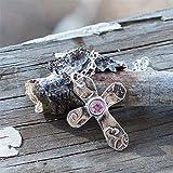 Collar de plata con cruz de plata pura y amatista real cruci