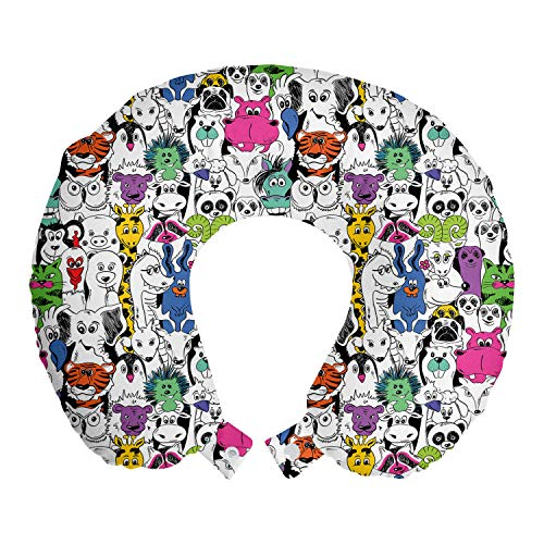 """Lunarable Psychedelic Travel Pillow Neck Rest, Tropical Wild Safari Zoo Animals Pattern Tiger Giraffe and Owl Kids Room Fun, Memory Foam Traveling Accessory for Airplane and Car, 12"""", Pink"""