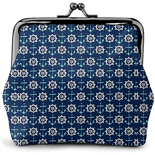 Dames portemonnee anker weg nautisch marineblauw munt portemonnee kus slot wisselzak vintage sluiting gesp portemonnee vrouwen geschenk