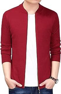 Men's Baseball Collar Zip Up Cable Knit Bomber Cardigan Sweater