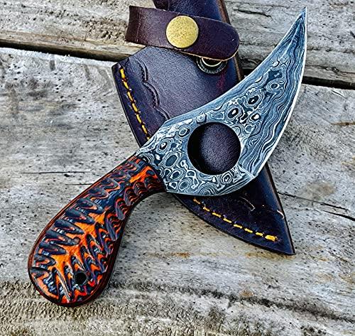03 Bandle Custom Handmade Hunting Knife Camp Knife Damascus Steel Skinning Knife EDC 7.3' Overall Red Black Exotic Wood with Custom Sheathe 03