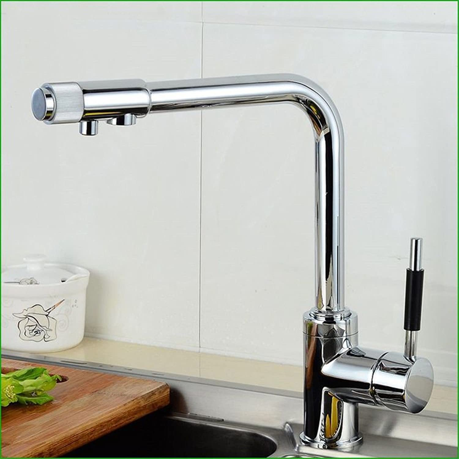 Hlluya Professional Sink Mixer Tap Kitchen Faucet The Brass chrome two with double water square barrel sink kitchen sink KITCHEN FAUCET