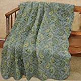 Country Stream Blues Paisley Blue Green Yellow Scalloped Quilted Cotton Reversable Throw Blanket by Cozy Line Home Fashions (60'x 50' inch)