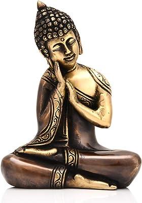 Collectible India Brass Resting Buddha Statue Decorative Gautam Buddhist Medicine Showpiece Figurine(Size 6.5 x 4.5 Inches)