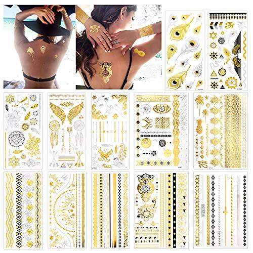 Konsait 12 Fogli Metallico Tatuaggio Temporaneo, 150+ Modelli impermeabile tatuaggi oro Tattoo Adesivi Tatuaggi Temporanei per adulti Donne, Frecce Piume Braccialetti da Polso e Bracciali