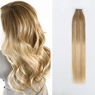 Sponsored Ad - Sassina Fashion Color Tape in Hair Extensions, Reuable Tape Human Hair Skin Wefts Balayage Ash Brown Fading...