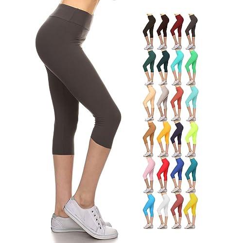 c0134c1b1ee397 Leggings Depot Yoga Capri Solid Leggings Dark Grey