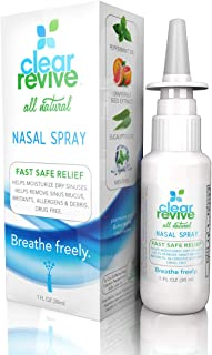 Clear Revive - All Natural, 24 Hour Fast Relief, Non-Drowsy, Moisturizing Allergy Nasal and Sinus Spray (2 Pack)