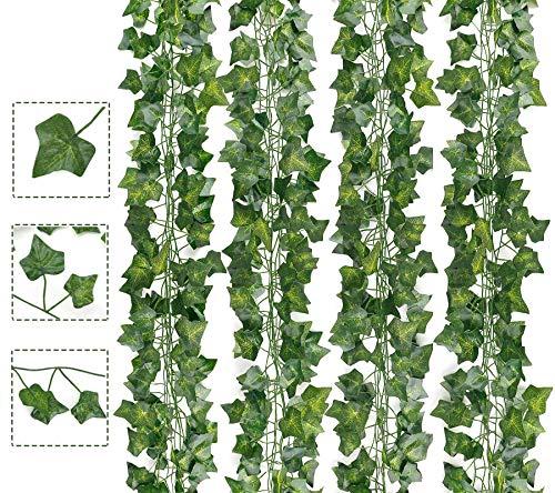 AIOR Plantas Hiedra Artificial, Decoración Exterior Colgante Guirnalda Hiedra Artificial Vine Follaje Hojas Verdes Flores para Hogar Boda Escalera Ventana Balcón Valla Jardín Mesa Fiesta, 24PCS