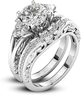 Hot Sale! 2-in-1 Fashion Brilliant Diamond Halo Ring Engagement Wedding Band Ring Creative Ring Set Accessories For Women (Sliver B, 8)