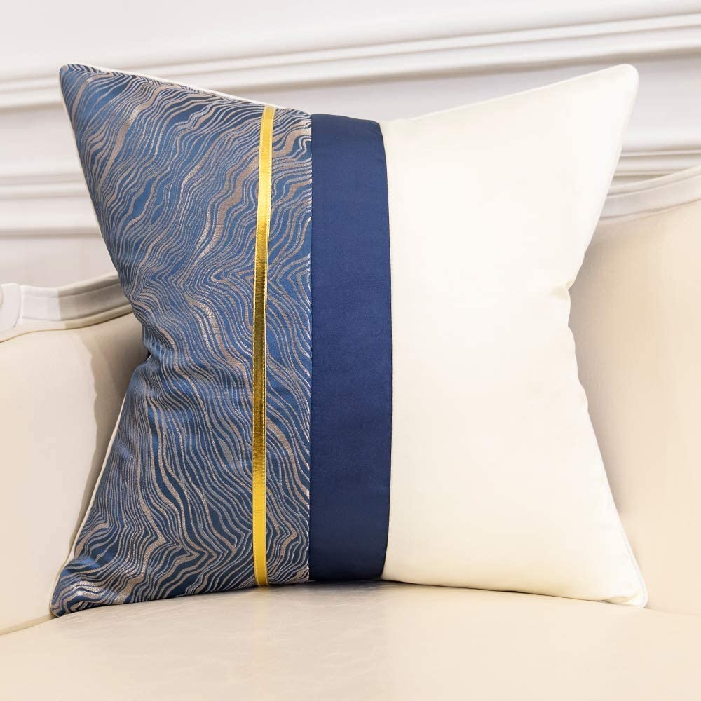 Avigers 18 x 18 Inch Square Navy Blue Silver Gold White Patchwork Abstract Striped Cushion Case Luxury Modern Throw Pillow Cover Home Decorative Pillow for Couch Living Room Bedroom Car