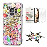 STENES Sparkle Case Compatible with Samsung Galaxy S21 Plus Case - Stylish - 3D Handmade Bling Music Flowers Design Cover Case with Screen Protector [2 Pack] - Pink