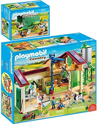 PLAYMOBIL® Country 2er Set 70132 70138 Großer Bauernhof mit Silo + Mobiles Hühnerhaus
