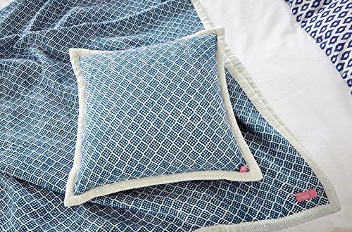 Joules Blue Woven Cushion, Cotton Deep, 40 x 40 x 15 cm