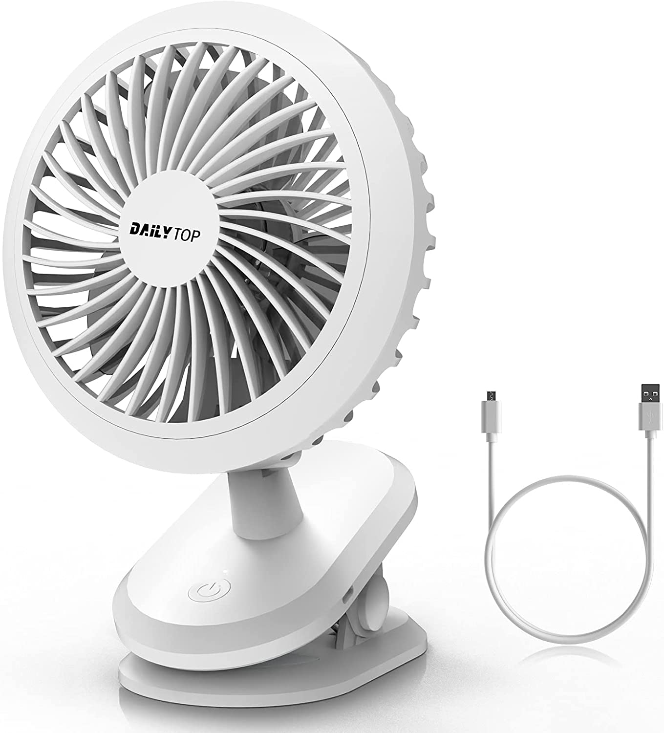 Dailytop Clip on Fan, Portable Fan Rechargeable,Battery Operated Desk Fan,360 Degree Rotation and 3 Speeds Fast Air Circulating USB Fan, 6-Inch ,Endurance 9 hours,Sturdy Clamp for Stroller,Tent or Indoor Gym Treadmill ,Personal Office Desk