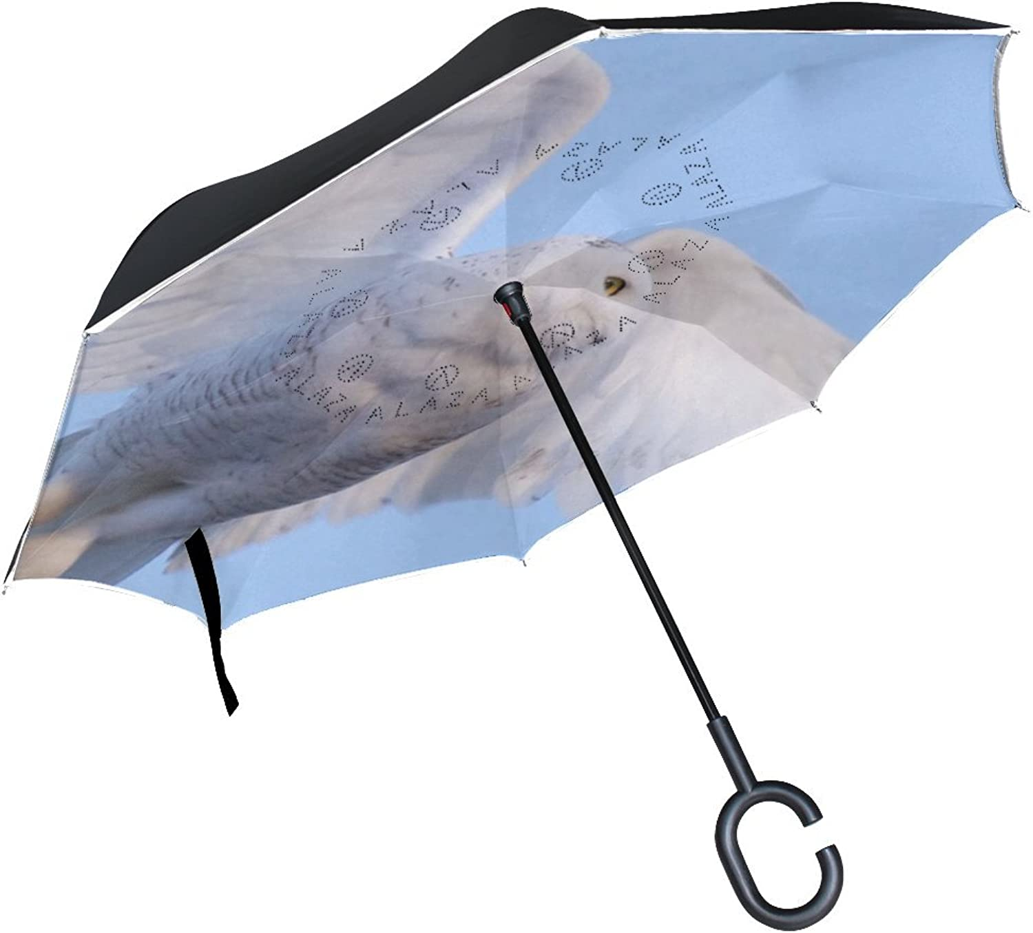 Animal Owl Snowy Adorable Fluffy Small Animated Flying White Ingreened Umbrella Large Double Layer Outdoor Rain Sun Car Reversible Umbrella