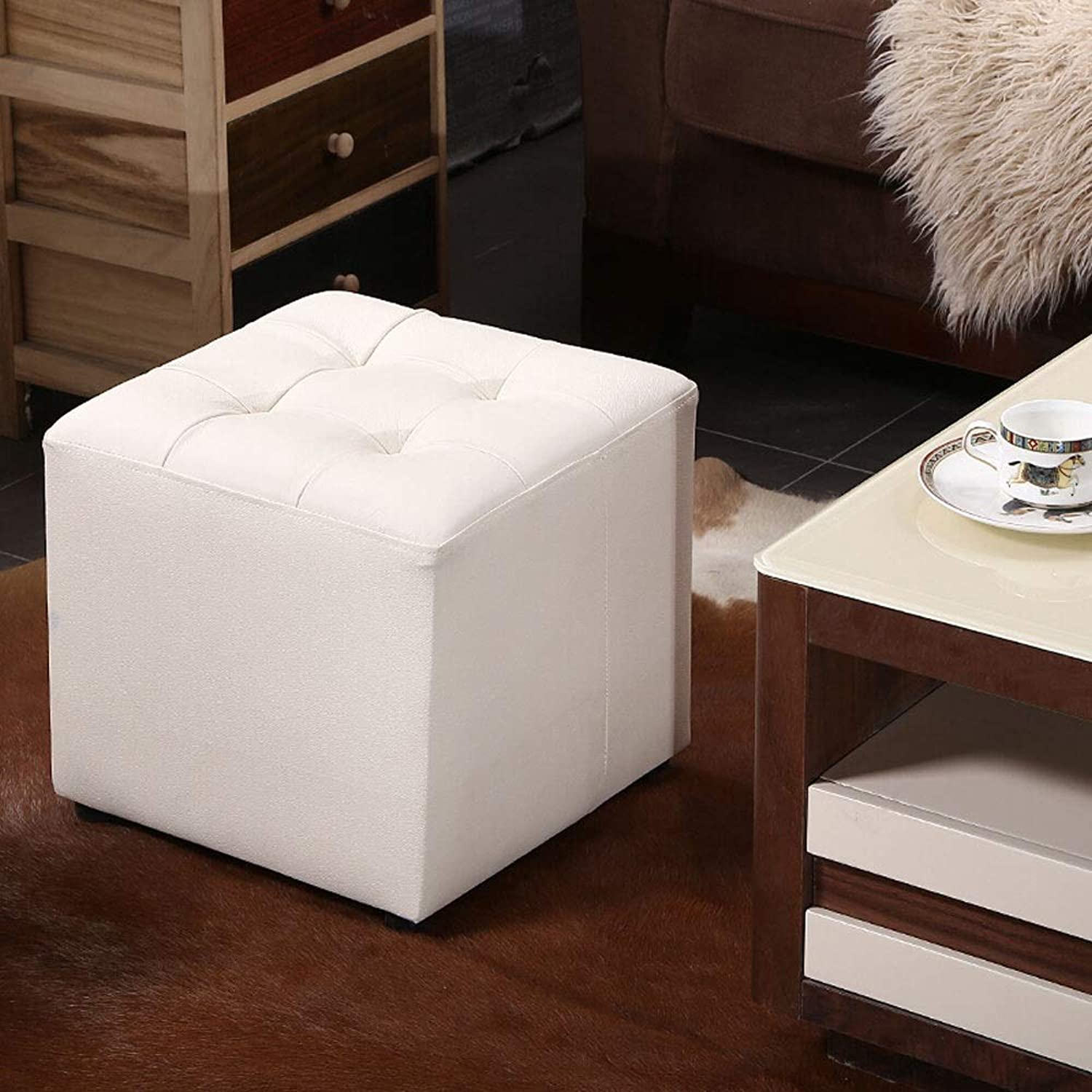 Paddia Creative Fashion Leather Sofa Stool Stool Stool Changing His shoes Stool Square Stool Storage Stool Dressing Stool Footstool Living Room Solid Simple Modern Small Round Stool Bedroom Living Roo