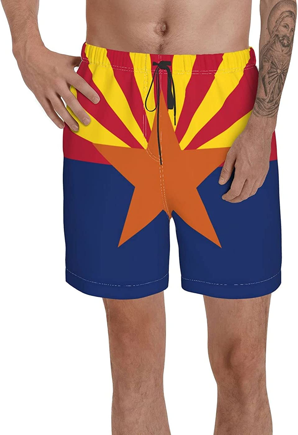 Arizona State Polyester Flag Men's 3D Printed Funny Summer Quick Dry Swim Short Board Shorts with