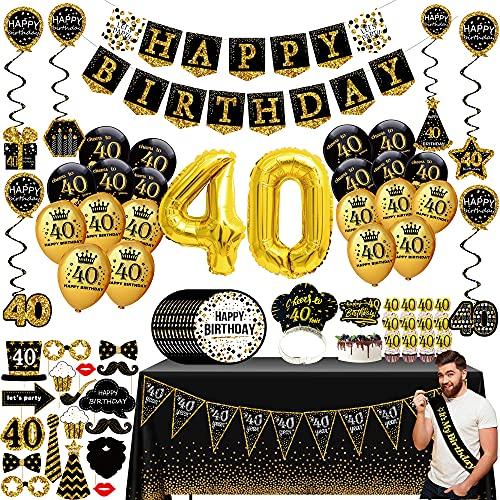 40 geburtstag deko frauen männer - (76pack) schwarzes Gold party Banner, Wimpel, Spiral Girlanden, ballons, Tischdecken, Cupcake Topper, Krone, Pappteller, Foto Requisiten, Geburtstag Schärpe