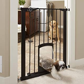 """MYPET North States 38"""" wide 36"""" tall Petgate Passage: Extra tall secure pet gate with small lockable doggy door. Pressure ..."""
