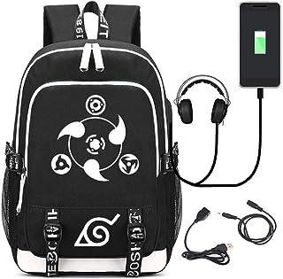 YOYOSHome Luminoso Anime Naruto Cosplay Bookbag Daypack Mochila Mochila Mochila Escuela con Puerto USB