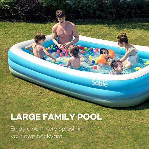 "Sable Inflatable Pool, Blow Up Family Full-Sized Pool for Kids, Toddlers, Infant & Adult, 118"" X 72"" X 22"", Swim Center for Ages 3+, Outdoor, Garden, Backyard, Summer Water Party"