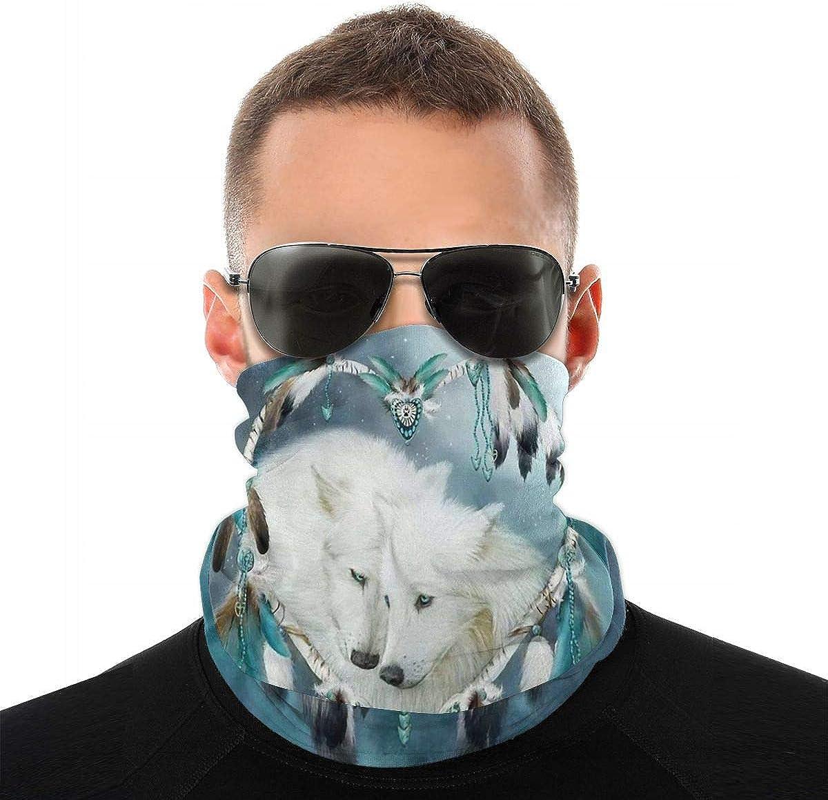 KiuLoam Tribal Ethnic Dreamcatcher Wolf Seamless Face Mask Bandanas Neck Gaiter for Men and Women, Multifunction Headband Scarf for Dust, Outdoors, Sports