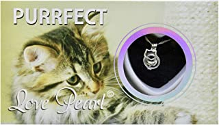 Purrfect Cat Love Wish Pearl Kit Chain Necklace Kit Pendant Cultured Pearl in Kit Set with Stainless Steel Chain 16