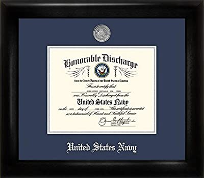 Patriot Navy Discharge Frame with Silver Medallion 8.5 x 11 Inches
