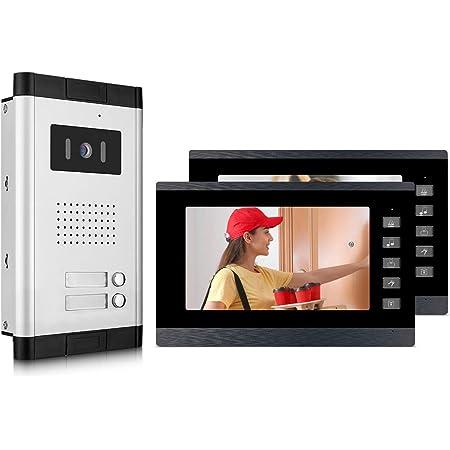 "Wired 7/"" Video Doorbell Intercom 1 700TVL Camera 2 Monitors With Electric Lock"