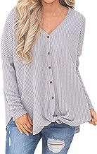 Womens Sweatshirt Loose Knit Tunic Blouse Knot Henley Tops Bat Wing Plain Shirts