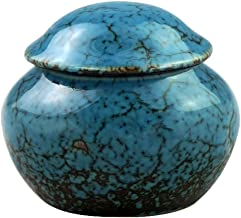 Mini Keepsake Funeral Urn - Brass Cremation Urns for Human Ashes Adult - Hand Engraved - Fits a Small Amount of Cremated Remains - Display Burial Urn at Home or Office (Fambe Blue Ocean Baby Urn
