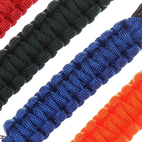 EDC Military Tool Survival Kit 140kg Tensile Strength Emergency Rope Carabiner Paracord Cord Key Chain Rings Outdoor Camping Keyring(2 Black)