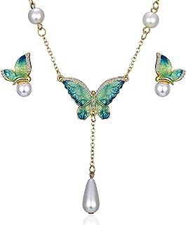 AILUOR Pendientes Collar Encanto de la Manera Cristal Plateado del Oro del Rhinestone de imitación de Perlas de Agua Gota ...