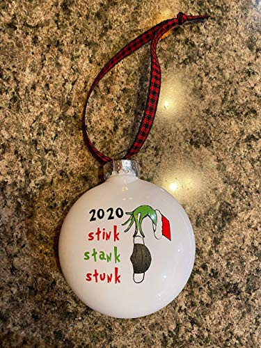 None-brands Christmas tree ornaments 3' Grin-ch 2020 Stink Stank Stunk Ornament keepsake for family friends quarantine 2020 ornament Christmas Hanging Baubles Tree decorations