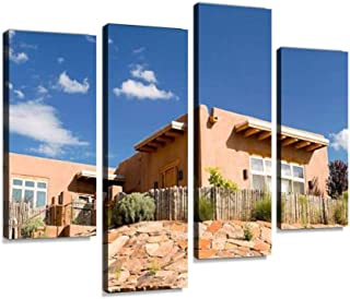 Mission Style Adobe Home, Suburban Santa Fe, NM, Palisade Fence Canvas Wall Art Hanging Paintings Modern Artwork Abstract Picture Prints Home Decoration Gift Unique Designed Framed 4 Panel