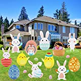 Adasea 12 PCS Easter Yard Sign Outdoor Lawn Walkway Decor Large Easter Eggs Bunny Chick Yard Sign Garden Decorations with Plastic Stake Easter Party Supplies Easter Props