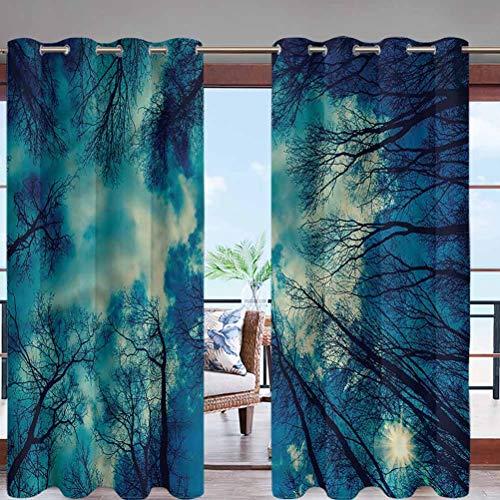 Hiiiman - Cortinas impermeables extra largas con ojales, diseño de bosque perenne monocromo con aislamiento térmico para exteriores para pérgola, porche o patio