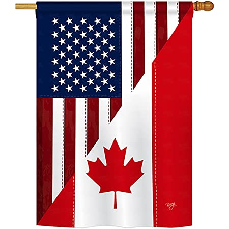 Breeze Decor Us Canada Friendship Flags Of The World Everyday Impressions Decorative Vertical House Flag 28 X 40 Printed In Usa Garden Outdoor