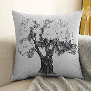 Tree Bedding Soft Pillowcase Sketch Artwork of Olive Tree Foliage Mediterranean Fruit Nature Garden Concept Print Hypoallergenic Pillowcase W16 x L24 Inch Black White