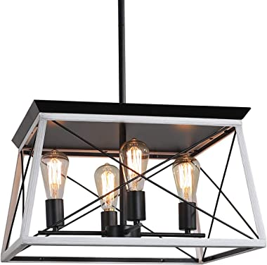 XIPUDA 4-Light Farmhouse Ceiling Pendant Light Fixture Kitchen Island Lighting Antique Industrial Metal Chandeliers (Oak)