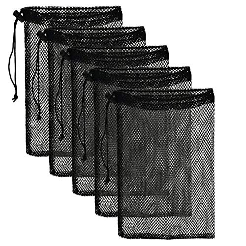5 Pcs Multipurpose Mesh Nylon Bags with Drawstring Cord Lock ¨C Ideal for Gym, Sports, Outdoor, Home, School, Work, Beach, Travel ¨C Strong, Durable and Reusable Stuff Bags