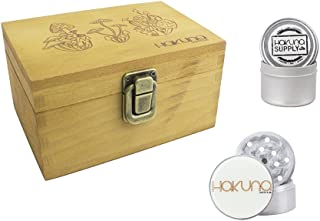 Hakuna Supply Wooden Travel Stash Box Combo - Metal Herb Container, Travel Size 4 Pc. Shredder, Removeable Rolling Set (Trippy Mushroom)