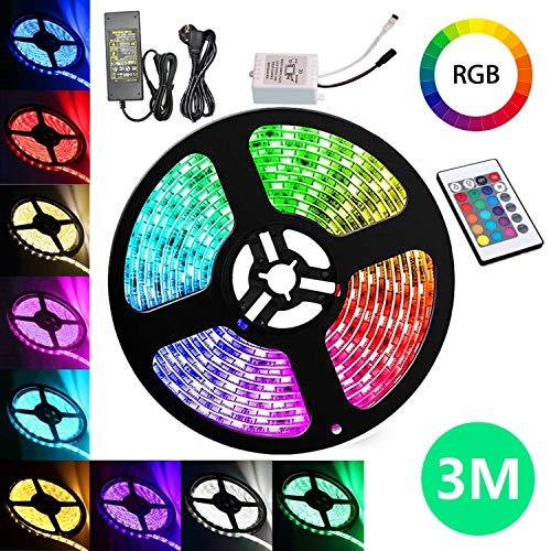 VINGO LED Streifen 3M LED Strip RGB LEDs Band mit 24 Tasten IR Fernbedienung 12V LED Klebestreifen 180 LEDs