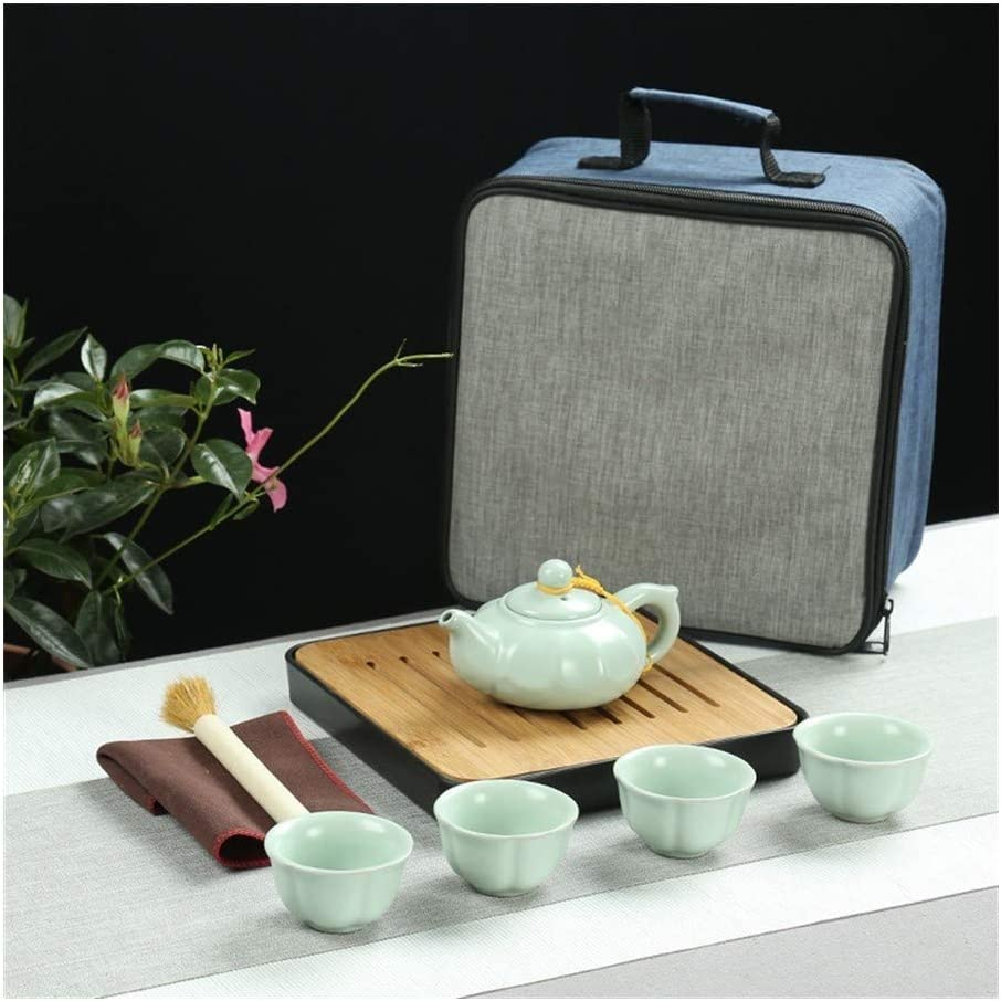 Pot Of Quadruplet Cups Portable Travel Tea Set Tea Ceramic Gift Set (Kleur: Ruyao Tea Ruyao Pumpkin